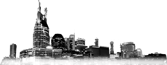 black and white night time nashville skyline cutout